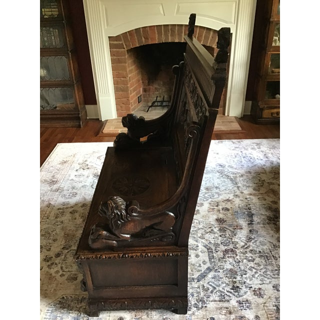 Brown Late 19th Century Antique Carved Oak Bench For Sale - Image 8 of 13