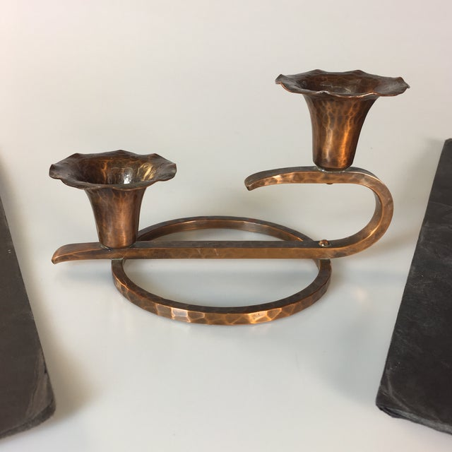 Arts & Crafts Style Solid Copper Candle Holder For Sale - Image 5 of 5
