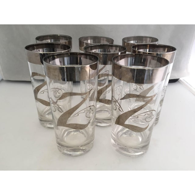 """Midcentury Dorothy Thorpe Silver Z Monogram, Set of Eight High Ball Glasses, No Makers Mark. 5.75""""H X 2.75""""D Top 2.5""""D Base"""