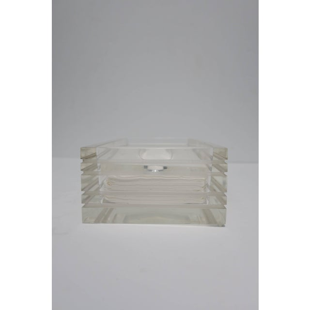 1970s Modern Lucite Tissue Box in the Style of Charles Hollis Jones, Ca. 1970s For Sale - Image 5 of 11