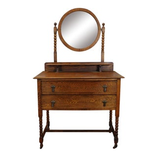 Antique English Style Quartered Oak Barley Twist Dressing Table Wash Stand w/ Mirror c1900