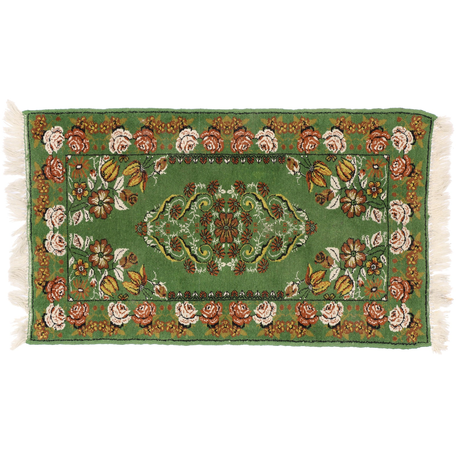 Green Vintage Moroccan Accent Rug , Foyer Or Entryway Rug