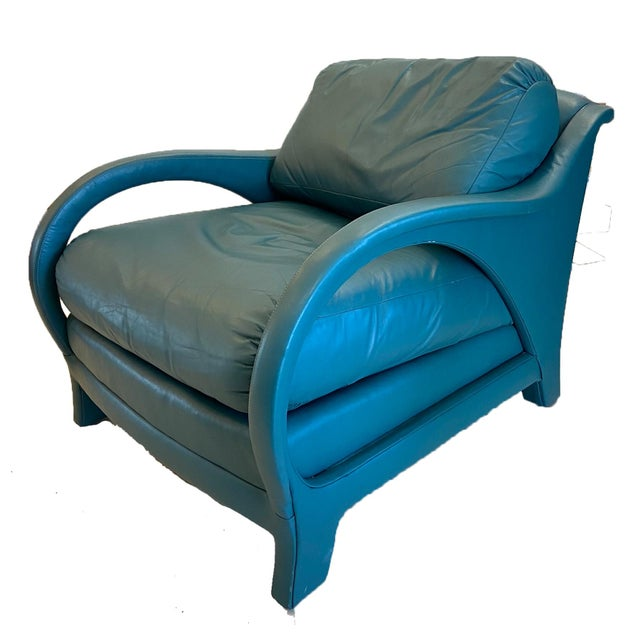Pair of Jay Spectre tycoon lounge chairs in dyed leather. Designed by Jay Spectre for Century furniture co. Overall in...