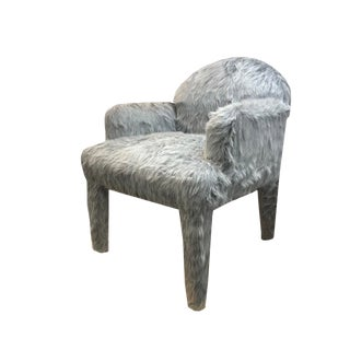 1980s Vintage Frost Grey Fur Occasional Chair For Sale