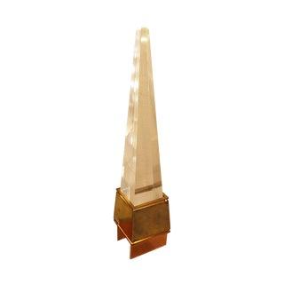 Acrylic Obelisk Brass Base Table Lamp