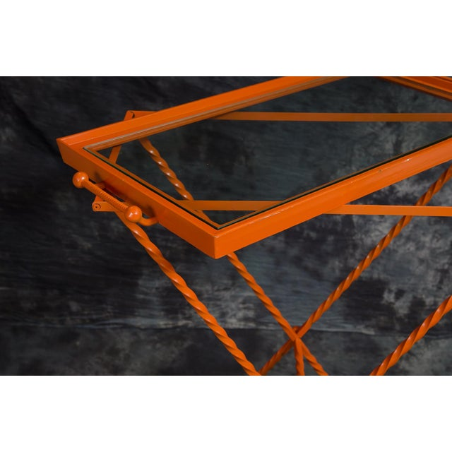 Traditional 1960s Orange Butler's Tray Table For Sale - Image 3 of 9