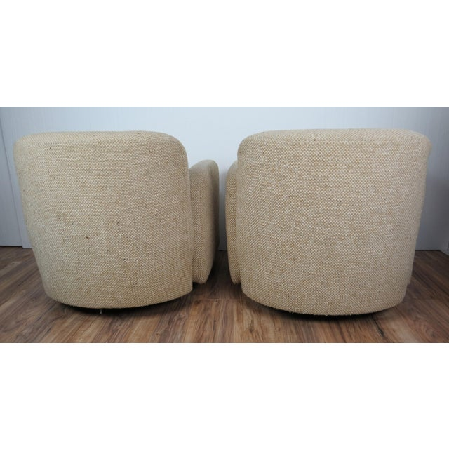 Weiman Preview Furniture 1970s Mid-Century Modern Wool Tweed Swivel Chairs by Preview - a Pair For Sale - Image 4 of 13