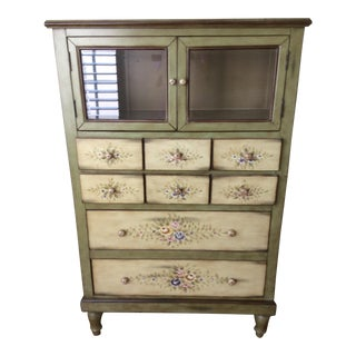 Hand Painted Green Chest of Drawers