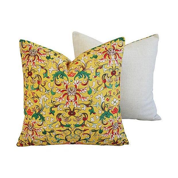 Custom Asian Yellow Floral Linen Pillows - A Pair - Image 6 of 7