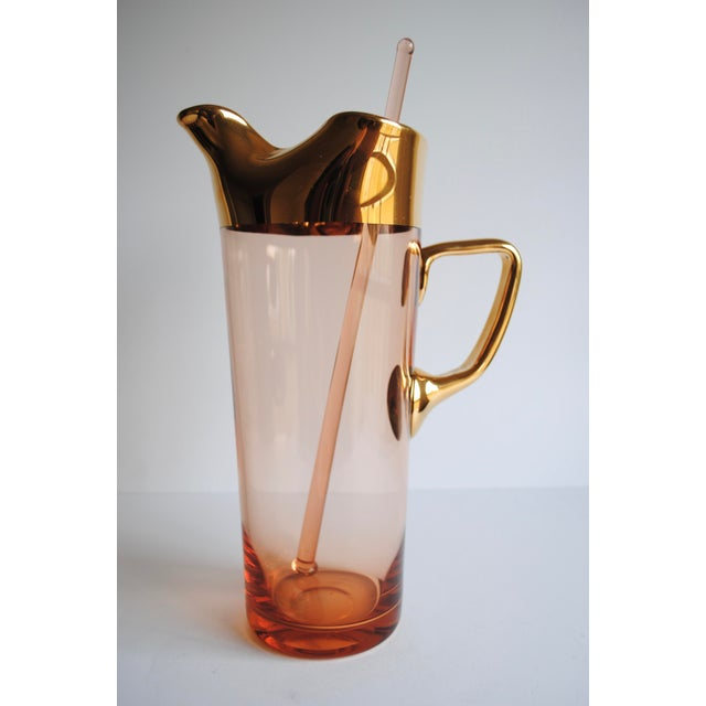 Mid-Century Pink & Gold Cocktail Glasses - Set of 8 - Image 5 of 7