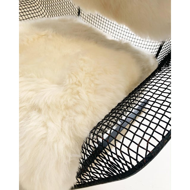 White Russell Woodard Sculptura Lounge Chairs and Ottoman With Sheepskin Cushions For Sale - Image 8 of 10