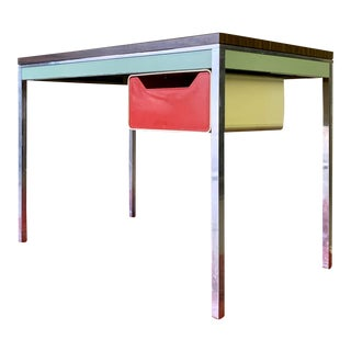 Funky Mid Century Modern Chrome + Wood Desk For Sale