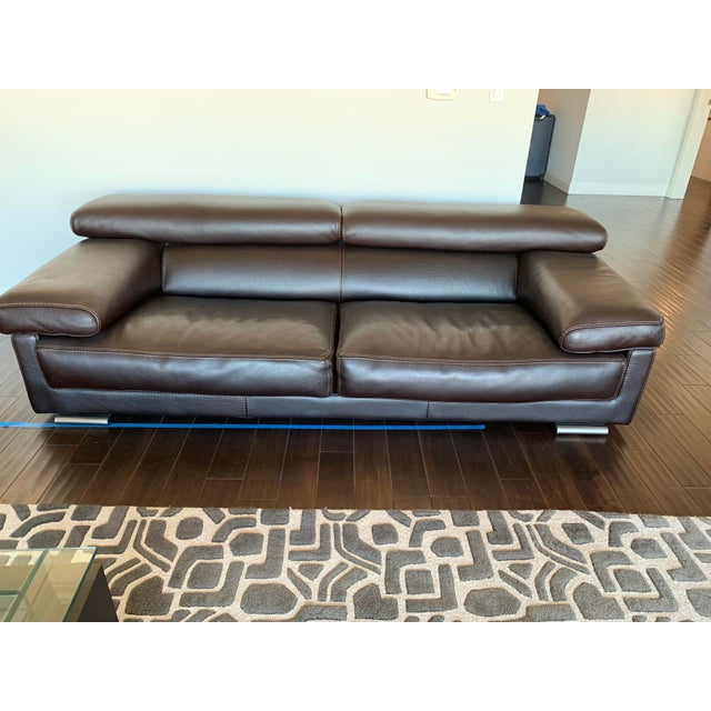 Modern Roche Bobois Brown Leather Modern Sofa For Sale - Image 3 of 3