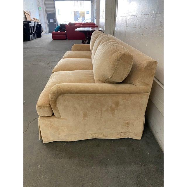 English Belmar Custom Upholstery Rolled Arm Cream Velvet Sofa For Sale - Image 3 of 13