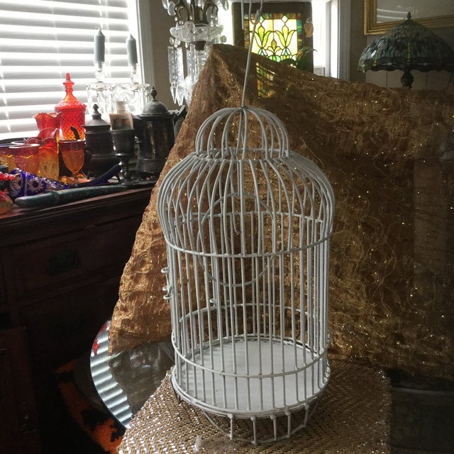 Mid-Century White Bird Cage For Sale In Atlanta - Image 6 of 8