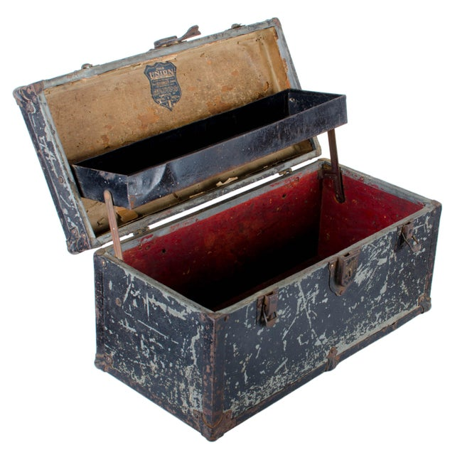 Vintage Union tool box. Painted tin over wood with great wear. New leather handle wrap has been added. 16 by 8 by 8 inches.