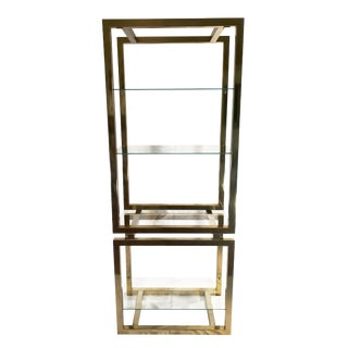Hollywood Regency Milo Baughman Style Gold Chrome Etagere For Sale