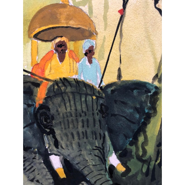 "1960s Signed Gouache Painting ""Tiger Hunt"" For Sale - Image 4 of 9"