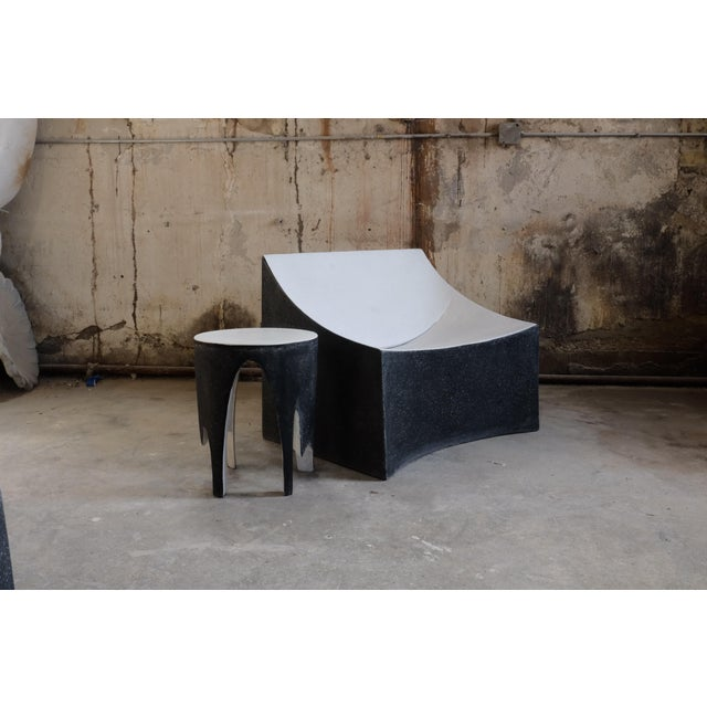 Cast Resin 'Corridor' Side Table, Black and White Finish by Zachary A. Design For Sale - Image 4 of 7