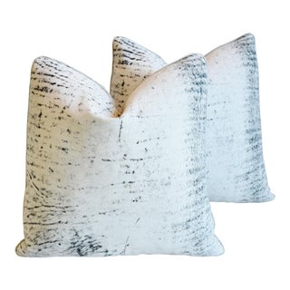 Custom Designer Eldeman Distressed Leather Pillows - Pair For Sale