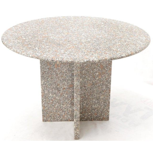 Round Granite Stone X Base Dining Dinette Center Table For Sale - Image 4 of 9