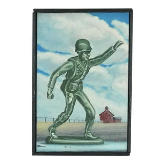 Mid Century Surrealist Toy Solider Painting on Canvas- F Z Hodes For Sale