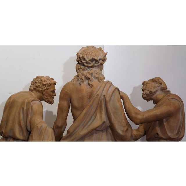 Brown French Terracotta Sculpture of Christ Before Crucifixion For Sale - Image 8 of 10