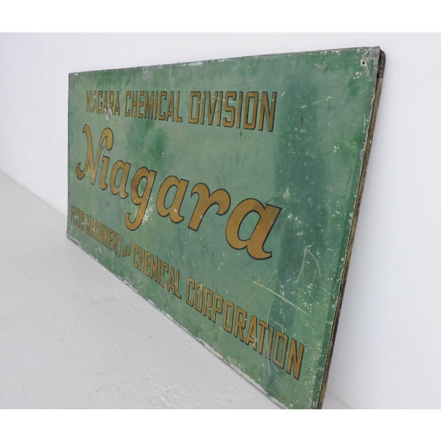 Vintage tin hand-painted sign of Bay Area Niagara Chemical which was a division of Food Machinery and Chemical...