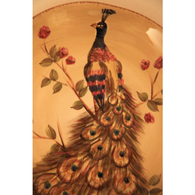 Hand Painted & Hand Crafted Peacock Plates - A Pair For Sale - Image 4 of 5