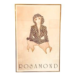 1980s Christine Rosamond Abstract Art Black & White Stripes Framed Offset Lithograph Print For Sale