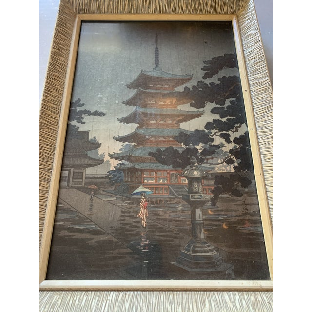 Japanese Woodblock Framed Prints - a Pair For Sale - Image 4 of 13