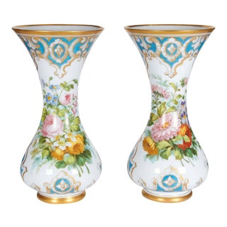 French Opaline Hand-Painted Glass Vases attributed Baccarat - a Pair For Sale