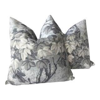 "Zoffany ""Richmond Park"" Midwinter Linen 22"" Plush Down Pillows - a Pair For Sale"