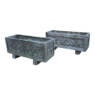 Pair of Decorative Cast Garden Planters From France For Sale