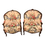 Image of Floral Upholstery Bergère Chairs - A Pair For Sale