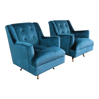 Restored 1960s Mid-Century Modern Teal Velvet Swivel Chairs - a Pair For Sale