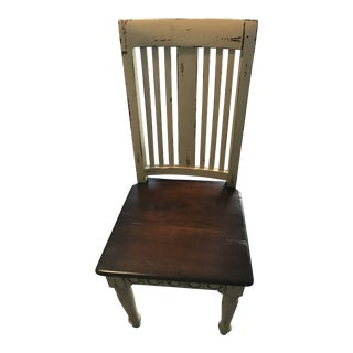 Shabby Chic Distressed Two-Toned Solid Wood Chair For Sale