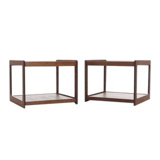 Pair of Cube Shape Walnut Glass Top End Tables For Sale