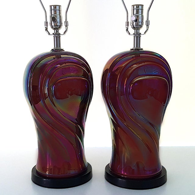 Vintage American Art Deco Revival Streamline Modern Iridescent Carnival Glass Lamps - a Pair For Sale - Image 12 of 13