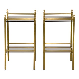 Pair Mid Century Brass and Glass Side Tables