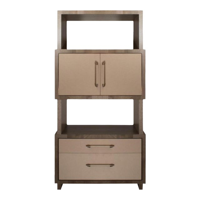 Modern Henredon East End Gray and Taupe Etagere For Sale