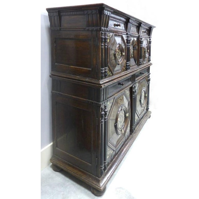 Restoration Charles II English Cabinet circa 1660-1685, Mother-of-Pearl Inlays For Sale In Miami - Image 6 of 11