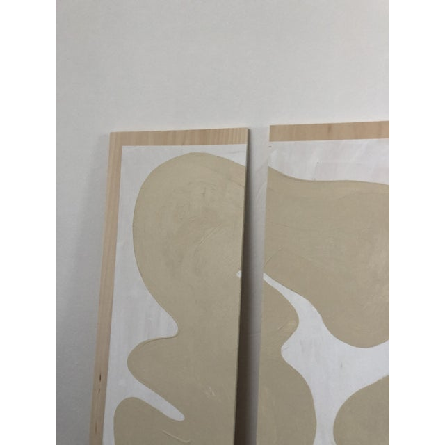 2010s Abstract Beige and White Quadriptych Painting - 4 Pieces For Sale - Image 5 of 7
