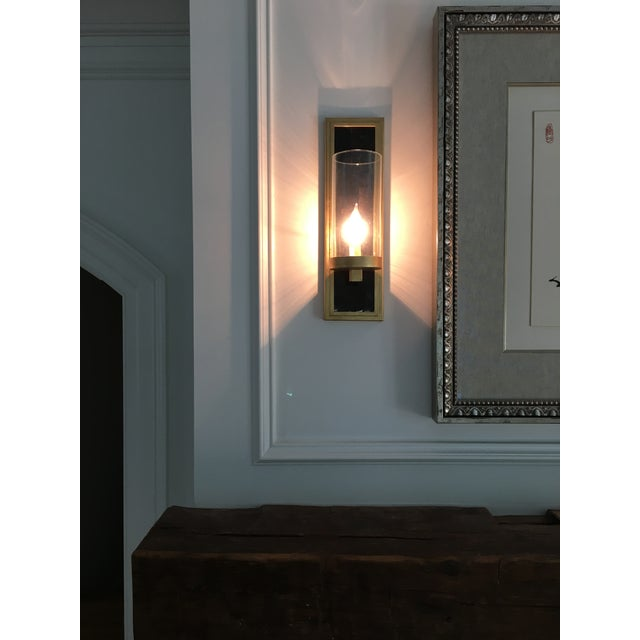 Contemporary Currey and Company Contemporary Gold Leaf / Black Wall Sconces - A Pair For Sale - Image 3 of 6