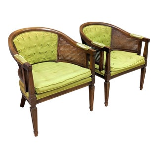 Lewitte's Hollywood Regency Distressed Cane Accent Chairs- A Pair For Sale