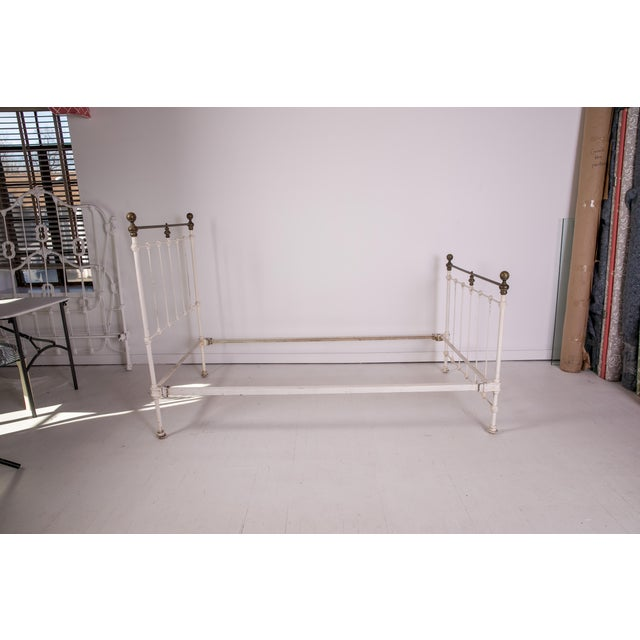 1910s Shabby Chic White Iron Victorian Bedframe For Sale - Image 4 of 12