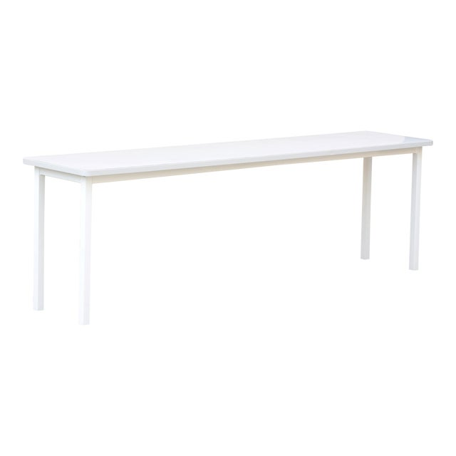 Tanker Inspired Steel Console Table in Gloss White, Custom Made For Sale