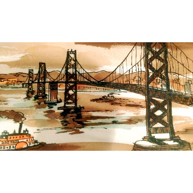 Vintage Golden Gate Bridge Watercolor Painting - Image 5 of 7