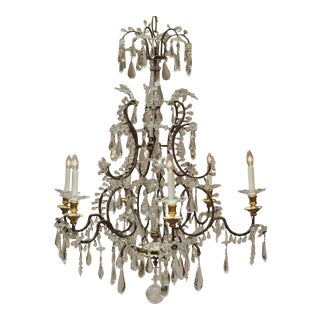 Louis XV Style Iron and Crystal 6-Light Chandelier, Italy, Circa:1860 For Sale