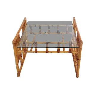 1970s Glass & Rattan Coffee Table For Sale